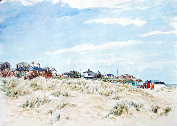 Beach Huts, Southwold - Pen & Watercolour - 40 x 60cm